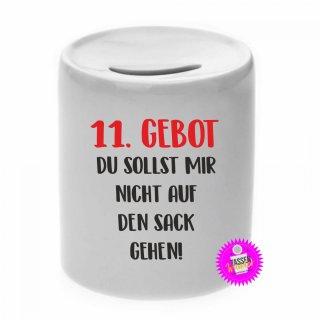 11.GEBOT - Spardose mit Spruch / Sprüche / Geld / Geschenk / Sparschwein