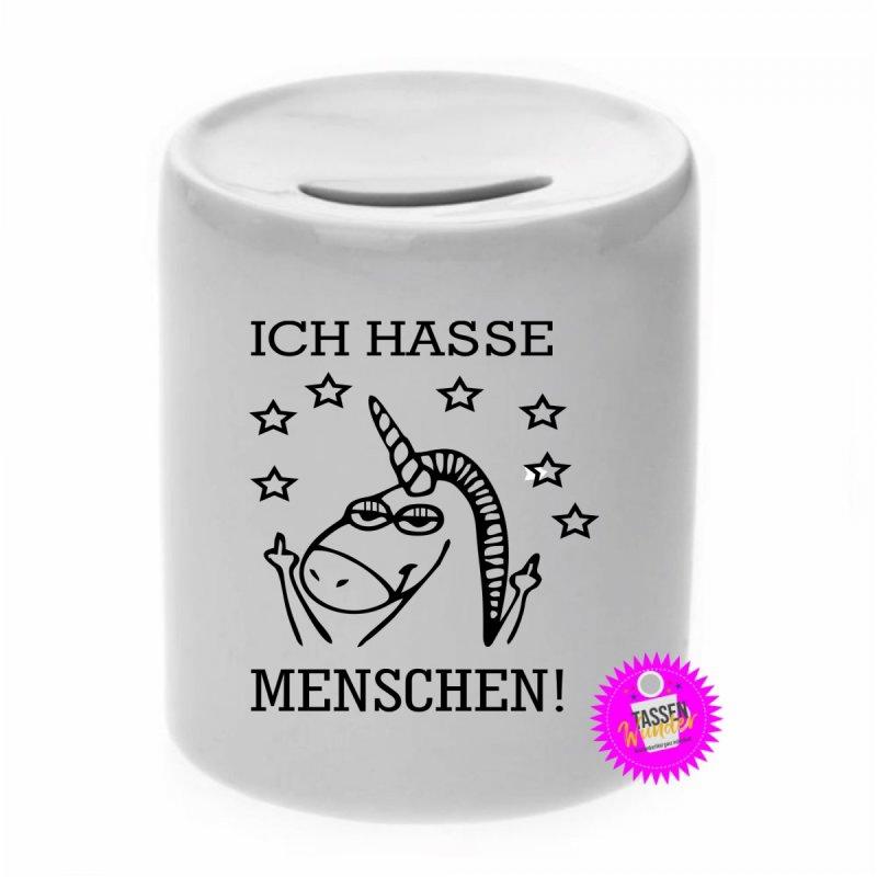 ICH HASSE MENSCHEN - Spardose mit Spruch / Sprüche / Geld