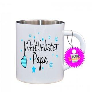Weltliebster Papa - Edelstahltasse Tasse mit Spruch_Sprüche_Kaffeetasse_Liebe_Tee