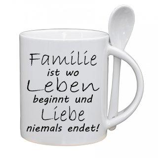 Familie ist wo Leben beginnt - Geschenk Witzig Büro Weinachten Lustige Tasse Kaffeebecher