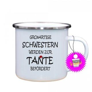 GROßARTIGE SCHWESTERN - Emaille-Tassen Lustige Tasse Geschenk Liebe Büro Kaffeebecher