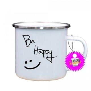 Be Happy - Emaille-Tassen Lustige Tasse Geschenk Liebe Büro Kaffeebecher Weinachten