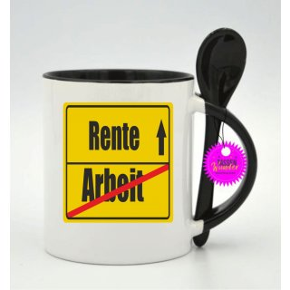 - Rente Arbeit - Geschenk Witzig Büro Weinachten Lustige Tasse Kaffeebecher Tee Tassen