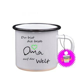 Du bist die beste Oma - Emaille-Tassen Lustige Tasse Geschenk Liebe Büro Kaffeebecher Weinachten