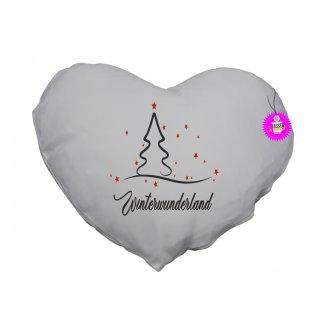- Winterwunderland - Herzkissen Lustiges Kissen Fotokissen Kissen bedruckt