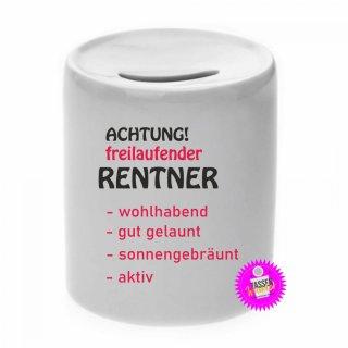 Achtung freilaufender Rentner - Spardose lustig Geld Geschenk Sparschwein