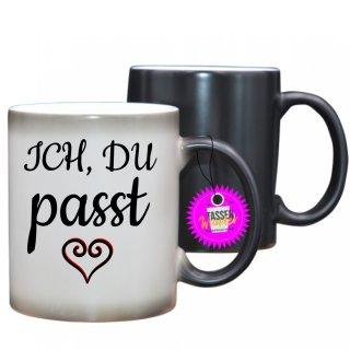 ICH, DU passt - Farbwechseltasse  Lustige Tasse Kaffee Tee Büro Geschenk Witzig