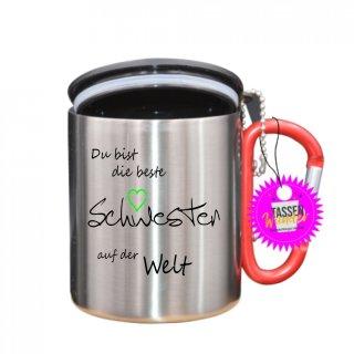 - Schwester - Tasse mit Spruch_Edelstahlbecher_Sprüche_Motive_Liebe