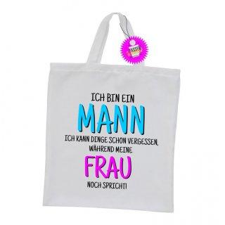 - ICH BIN EIN MANN - Einkaufstasche Sprüche Witzige Lustige Bedruckt