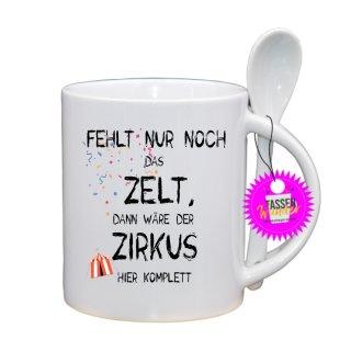 - FEHLT NUR NOCH DAS ZELT - Lustige Sprüche Tassen Kaffeebecher Löffel Geschenk Witzige