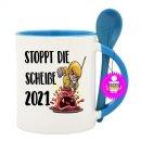 - STOPPT DIE SCHEIßE 2021 - Lustige Sprüche Spruch Löffeltassen Kaffeebecher  Geschenk Witzige