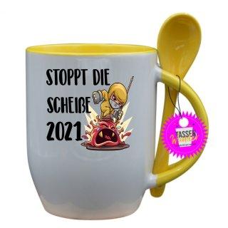 - STOPPT DIE SCHEIßE 2021 - Lustige Sprüche Tassen Kaffeebecher Löffel Geschenk Witzige