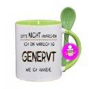 BITTE NICHT ANSPRECHEN! - Lustige Tasse mit Spruch / Sprüche / Löffel / Geschenk