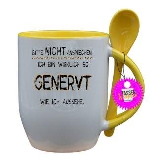 BITTE NICHT ANSPRECHEN! - Tasse mit Spruch / Lustige / Sprüche / Löffel / Büro