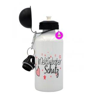 Weltliebster Schatz - Trinkflasche mit Spruch / Lustige / Sprüche / Aluminium