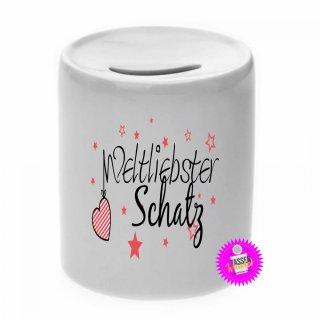 Weltliebster Schatz - Spardose mit Spruch / Sprüche / Geld / Geschenk / Sparschwein