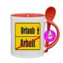 Arbeit / Urlaub - Lustige Tasse mit Spruch / Sprüche / Löffel / Geschenk