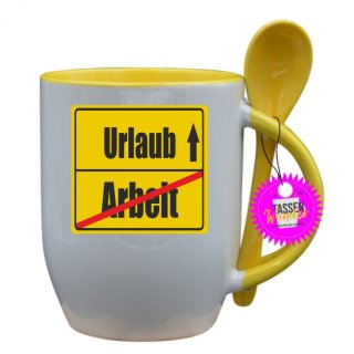 Arbeit / Urlaub - Tasse mit Spruch / Lustige / Sprüche / Löffel / Büro