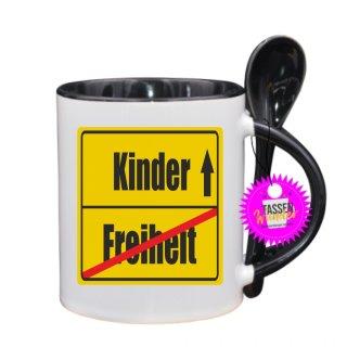 Freiheit / Kinder - Lustige Tasse mit Spruch / Sprüche / Löffel / Geschenk