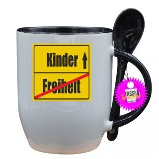 Freiheit / Kinder - Tasse mit Spruch / Lustige / Sprüche / Löffel / Büro