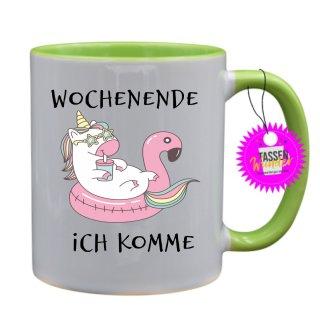 WOCHENENDE ICH KOMME - Tassen mit Spruch / Sprüche / Lustige / Motivation / Lustig