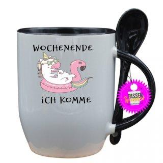 WOCHENENDE ICH KOMME - Tasse mit Spruch / Lustige / Sprüche / Löffel / Büro