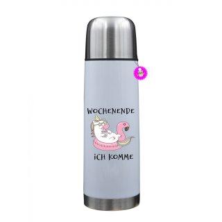 WOCHENENDE ICH KOMME - Thermosflasche mit Spruch / Lustige /Sprüche / Urlaub / Atbeit