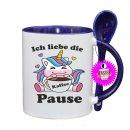 Ich liebe die Kaffee Pause - Lustige Tasse mit Spruch / Sprüche / Löffel / Geschenk