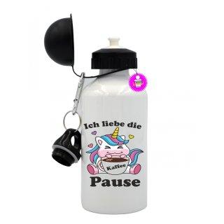Ich liebe die Kaffee Pause - Trinkflasche mit Spruch / Lustige / Sprüche / Aluminium