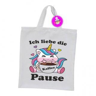 Ich liebe die Kaffee Pause - Einkaufstasche mit Spruch / Sprüche / Witzige / Lustige / Bedruckt
