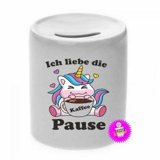 Ich liebe die Kaffee Pause - Spardose mit Spruch / Sprüche / Geld / Geschenk / Sparschwein