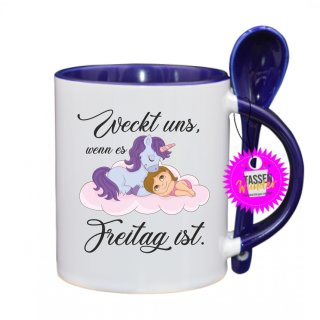 Weckt uns, wenn es Freitag ist - Lustige Tasse mit Spruch / Sprüche / Löffel / Geschenk