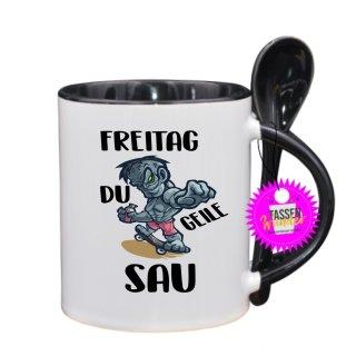 FREITAG DU GEILE SAU - Lustige Tasse mit Spruch / Sprüche / Löffel / Geschenk