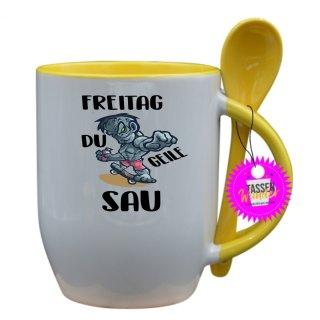 FREITAG DU GEILE SAU - Tasse mit Spruch / Lustige / Sprüche / Löffel / Büro