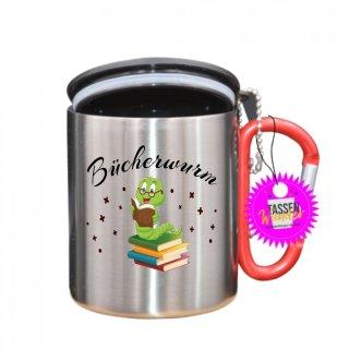 Bücherwurm - Tasse mit Spruch_Edelstahlbecher_Sprüche_Motive_Liebe