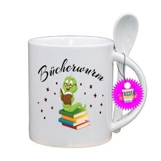 Bücherwurm - Lustige Tasse mit Spruch / Sprüche / Löffel / Geschenk