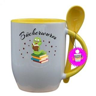 Bücherwurm - Tasse mit Spruch / Lustige / Sprüche / Löffel / Büro