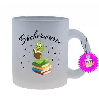 Bücherwurm - Tasse mit Spruch / Lustigen / Sprüchen / Glas / Kaffeebecher