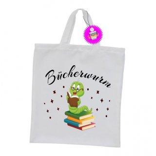 Bücherwurm - Einkaufstasche mit Spruch / Sprüche / Witzige / Lustige / Bedruckt