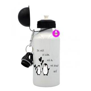 Die Welt ist schön,... - Trinkflasche mit Spruch / Lustige / Sprüche / Aluminium