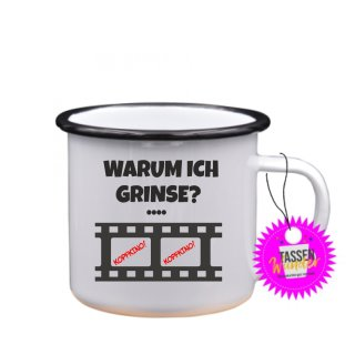 WARUM ICH GRINSE? - Tasse mit Spruch Lustige/ Sprüche / Urlaub