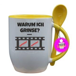WARUM ICH GRINSE? - Tasse mit Spruch / Lustige / Sprüche / Löffel / Liebe/  Büro