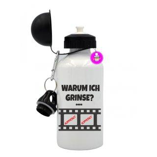 WARUM ICH GRINSE? - Trinkflasche mit Spruch / Lustige / Sprüche / Aluminium