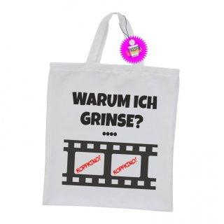 WARUM ICH GRINSE? - Einkaufstasche mit Spruch / Sprüche / Witzige / Lustige / Bedruckt
