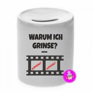WARUM ICH GRINSE? - Spardose mit Spruch / Sprüche / Geld / Geschenk / Sparschwein